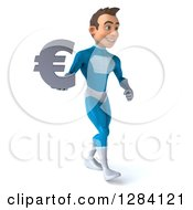 Clipart Of A 3d Young Brunette White Male Super Hero In A Blue Suit Walking Slightly Right With A Euro Symbol Royalty Free Vector Illustration by Julos