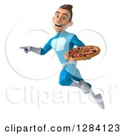 Clipart Of A 3d Young Brunette White Male Super Hero In A Blue Suit Pointing Left And Flying With A Pizza Royalty Free Vector Illustration by Julos