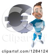 Clipart Of A 3d Young Brunette White Male Super Hero In A Blue Suit Royalty Free Vector Illustration by Julos