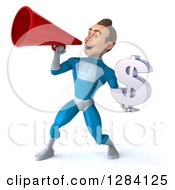 Clipart Of A 3d Young Brunette White Male Super Hero In A Blue Suit Holding A Euro Currency Symbol And Using A Megaphone Royalty Free Vector Illustration by Julos