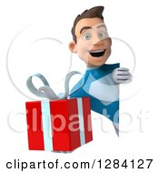 Clipart Of A 3d Young Brunette White Male Super Hero In A Blue Suit Holding A Gift Around A Sign Royalty Free Vector Illustration by Julos
