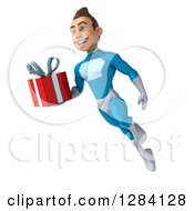 Clipart Of A 3d Young Brunette White Male Super Hero In A Blue Suit Flying Slightly Left With A Gift Royalty Free Vector Illustration by Julos