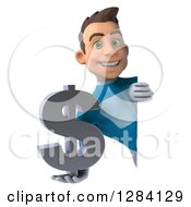 Clipart Of A 3d Young Brunette White Male Super Hero In A Blue Suit Holding A Euro Currency Symbol Around A Sign Royalty Free Vector Illustration by Julos