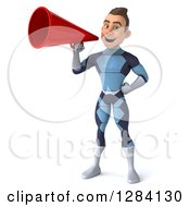 Clipart Of A 3d Young Brunette White Male Super Hero In A Dark Blue Suit Announcing With A Megaphone Royalty Free Vector Illustration by Julos