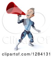 Clipart Of A 3d Young Brunette White Male Super Hero In A Dark Blue Suit Announcing Upwards With A Megaphone Royalty Free Vector Illustration by Julos