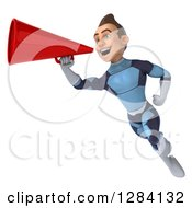 Clipart Of A 3d Young Brunette White Male Super Hero In A Dark Blue Suit Flying Facing Left And Announcing With A Megaphone Royalty Free Vector Illustration by Julos