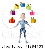 Clipart Of A 3d Young Brunette White Male Super Hero In A Dark Blue Suit Juggling Gifts Royalty Free Vector Illustration by Julos