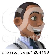Clipart Of A 3d Young Black Male Doctor Avatar From The Shoulders Up Facing Right Royalty Free Illustration