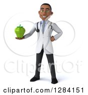 Clipart Of A 3d Young Black Male Doctor Holding A Green Bell Pepper Royalty Free Illustration