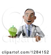 Clipart Of A 3d Young Black Male Doctor Holding A Green Bell Pepper Over A Sign Royalty Free Illustration