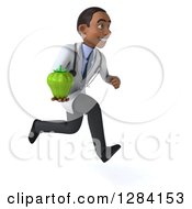 Clipart Of A 3d Young Black Male Doctor Running To The Right And Holding A Green Bell Pepper Royalty Free Illustration