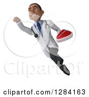 Clipart Of A 3d Young Black Male Doctor Flying To The Left And Holding A Beef Steak Royalty Free Illustration