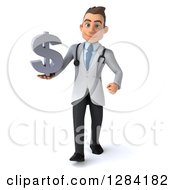 3d Young Brunette White Male Doctor Walking And Holding Up A Dollar Currency Symbol
