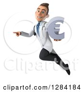 3d Young Brunette White Male Doctor Flying Pointing Left And Holding A Euro Currency Symbol