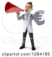 3d Young Brunette White Male Doctor Holding A Euro Currency Symbol And Announcing With A Megaphone