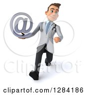 3d Young Brunette White Male Doctor Walking With An Email Arobase At Symbol