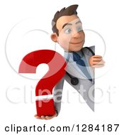3d Young Brunette White Male Doctor Holding A Question Mark Around A Sign