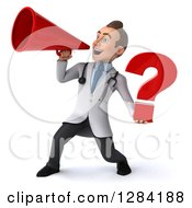 3d Young Brunette White Male Doctor Holding A Question Mark And Announcing With A Megaphone