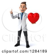 3d Young Brunette White Male Doctor Holding Up A Finger And A Heart