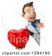 3d Young Brunette White Male Doctor Holding A Heart Around A Sign