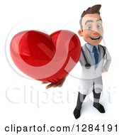 3d Young Brunette White Male Doctor Holding Up A Heart
