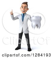 3d Young Brunette White Male Doctor Or Dentist Holding Up A Finger And A Tooth