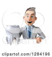 3d Young Brunette White Male Doctor Or Dentist Holding A Tooth Over A Sign