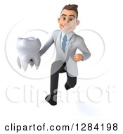 3d Young Brunette White Male Doctor Or Dentist Running With A Tooth