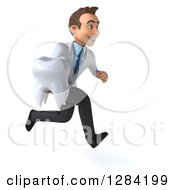 3d Young Brunette White Male Doctor Or Dentist Running To The Right With A Tooth