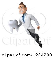 3d Young Brunette White Male Doctor Or Dentist Flying Slightly Left And Holding A Tooth