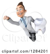 3d Young Brunette White Male Doctor Or Dentist Flying And Holding A Tooth