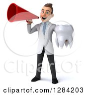 3d Young Brunette White Male Doctor Or Dentist Holding A Tooth And Using A Megaphone