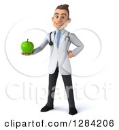 Clipart Of A 3d Young Brunette White Male Doctor Holding A Green Apple Royalty Free Illustration by Julos
