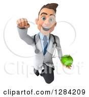 3d Young Brunette White Male Doctor Flying And Holding A Green Apple
