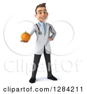 3d Young Brunette White Male Doctor Holding Out An Orange