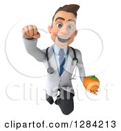 3d Young Brunette White Male Doctor Flying And Holding An Orange