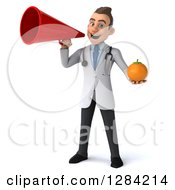 3d Young Brunette White Male Doctor Holding An Orange And Using A Megaphone