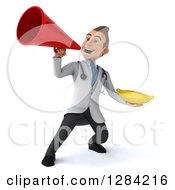 3d Young Brunette White Male Doctor Holding A Banana And Using A Megaphone