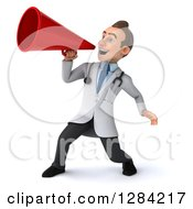 3d Young Brunette White Male Doctor Facing Left And Announcing With A Megaphone