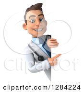 3d Young Brunette White Male Doctor Pointing Around A Sign