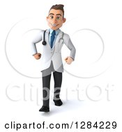 3d Young Brunette White Male Doctor Walking Forward