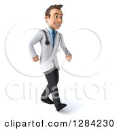 3d Young Brunette White Male Doctor Walking Slightly Right