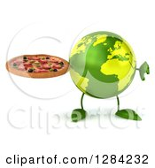 Clipart Of A 3d Green Earth Character Holding A Thumb Down And A Pizza Royalty Free Illustration