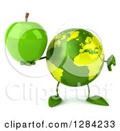 Clipart Of A 3d Green Earth Character Holding A Green Apple And Thumb Down Royalty Free Illustration