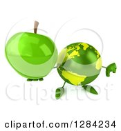 Clipart Of A 3d Green Earth Character Holding Up A Green Apple And Thumb Down Royalty Free Illustration