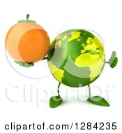 Clipart Of A 3d Green Earth Character Holding A Thumb Up And Orange Royalty Free Illustration