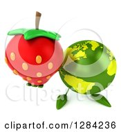 Clipart Of A 3d Green Earth Character Holding Up A Strawberry Royalty Free Illustration