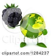 Clipart Of A 3d Green Earth Character Holding And Pointing To A Blackberry Royalty Free Illustration