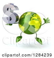 Clipart Of A 3d Green Earth Character Jumping And Holding A Dollar Currency Symbol Royalty Free Illustration