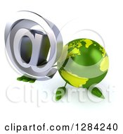 Clipart Of A 3d Green Earth Character Holding Up An Email Arobase At Symbol Royalty Free Illustration